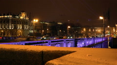 The roadway Palace Bridge with views of the architecture of the Winter Palace Stock Footage