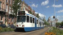 No 5 tram in Amsterdam, Netherlands. Stock Footage