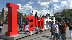 The IAMSTERDAM sign, Museum Plein, Amsterdam, Netherlands. Stock Footage