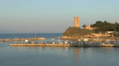 Ancient Tower and harbour Stock Footage