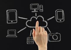 hand push chalk cloud computing concept drawn on blackboard - stock photo