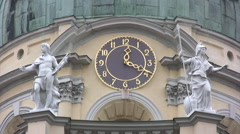 Close up of clock tower at Charlottenburg palace zoom out Stock Footage