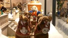 4K FHD Christmas Fair Market Shopping Window display toy decoration - stock footage