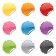 Shiny round stickers Stock Illustration