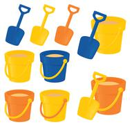 bucket and spade - stock illustration