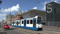 No 5 tram, Stedelijk Museum, Van Baerlestraat, Amsterdam, Netherlands. Stock Footage
