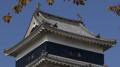 Matsumoto Castle Tower Close Up Zoom Out - stock footage