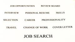 conceptual banner background of job search white and black - stock photo