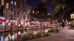 San Antonio, Texas Riverwalk Time-Lapse at Night (HD) - stock footage