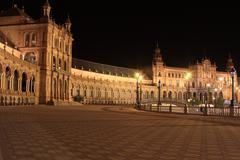 Night at famous Plaza de Espana in Sevilla, side view - stock photo