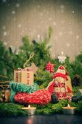 christmas handmade sock mascot tree decorations pine needles - stock photo