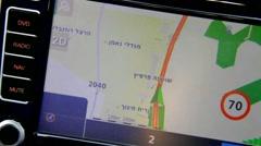 Car GPS  display in Israel Stock Footage