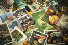 Old christmas postcards Stock Photos