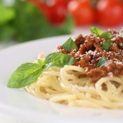 spaghetti bolognese noodles pasta meal with ground meat - stock photo