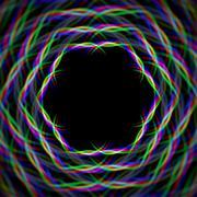 Mystic shiny hex frame with aberrations Stock Illustration