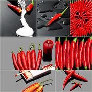 Red hot chili peppers collage Stock Photos