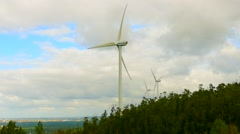 Renewable energy Wind, several wind turbine with strong wind on a cloudy day Stock Footage