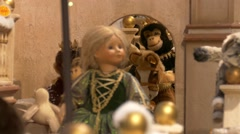 4K FHD Christmas Fair Market Shopping Window display toy decoration - stock footage