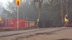 Heavy Equipment Construction welder, crossing tracks Stock Footage