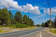 federal highway M18 kola of saint-petersburg - murmansk. russia - stock photo