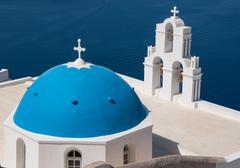 santorini, greece – august 23: agios theodori church on august 23, 2014 in f - stock photo