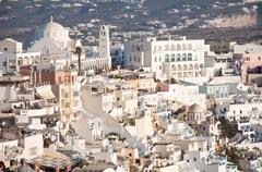 panorama view of fira, the main stunning cliff-perched town on santorini, mem - stock photo
