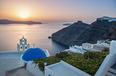 Santorini, greece – august 23: agios theodori church on august 23, 2014 in f Stock Photos