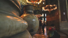 Enormous marble vases in the Hagia Sophia Stock Footage