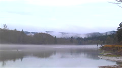 Chehalis river Montesano Washington gray foggy morning in november Stock Footage