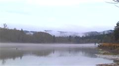 Chehalis river Montesano Washington gray foggy morning in november - stock footage