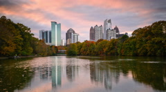 Atlanta, Georgia Midtown Skyline from Piedmont Park Stock Footage