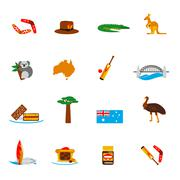 Australia icons set flat Stock Illustration