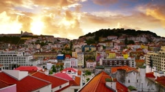 Lisbon, Portugal Dawn Skyline - stock footage