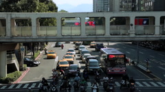 Taiwan Looking at traffic and Flag, Pedestrians Crossing Street-Dan Stock Footage