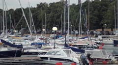 Many boats at the pier Stock Footage