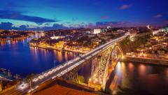 Porto, Portugal City Skyline over the Douro River Stock Footage