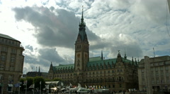 Hamburg town hall and market place Stock Footage