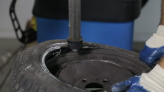 Close up of Changing tire Stock Footage