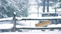 Snow Plow on New England Road - stock footage