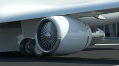 Seamless Looping Animation of Airplane Turbine Engine Stock Footage