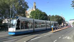 No 2 tram (with audio) on Liedseplein, Amsterdam, Netherlands. Stock Footage