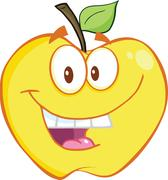 Smiling Yellow Apple Cartoon Mascot Character - stock illustration