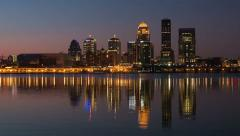 Louisville Skyline Morning Twilight Timelapse 1a Stock Footage
