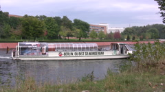 Tourist boat on the river Spree in central Berlin Stock Footage