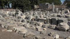 Ephesus Turkey ancient stone work ruins 4K 033 Stock Footage