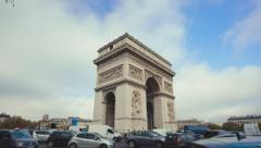Establishing shot of Arc de Triomphe on daytime. tilting down - stock footage