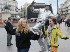 Cheerful girls against the mime. Related clips are in my portfolio in 1920x1080. Stock Footage