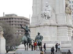 Monument to legendary heroes in Madrid. Related clips are in my portfolio in HD. - stock footage