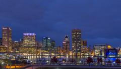 Sunset time lapse at Baltimore's Inner Harbor - stock footage