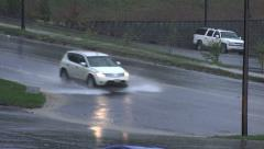 Cars drive through heavy rain in north carolina, usa Stock Footage